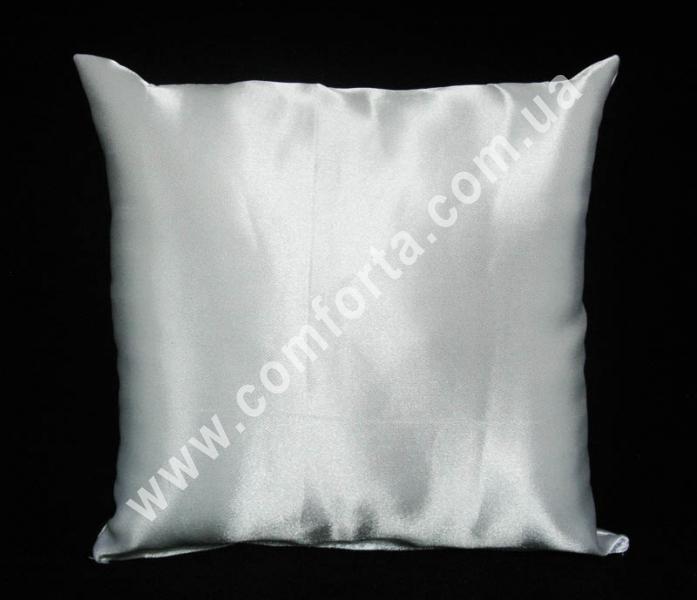 белая заготовка подушечки для колец на свадьбу, высота - 16 см, ширина - 16 см, материал - атлас