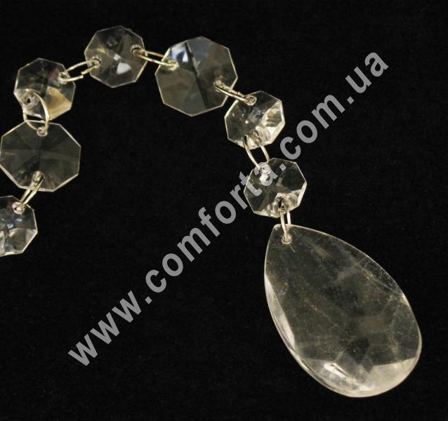 подвеска из акриловых кристаллов с окончанием в форме капли, длина - 108 см, материал - акрил