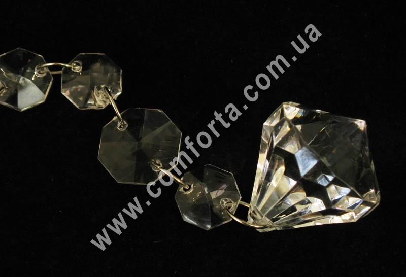 подвеска из акриловых кристаллов с окончанием в форме алмаза, длина - 106 см, материал - акрил