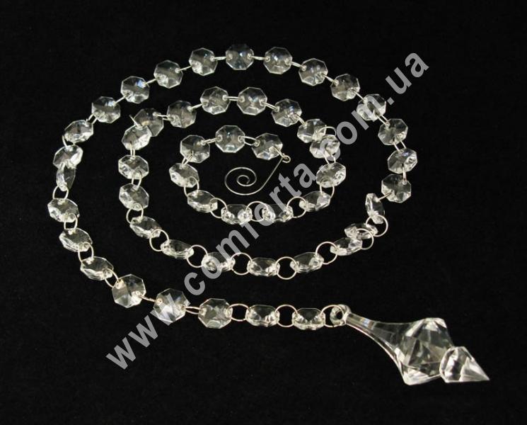 подвеска из акриловых кристаллов с окончанием в форме ромбика, длина - 110 см, материал - акрил