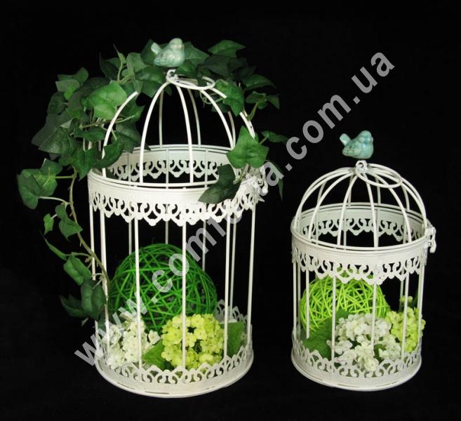 Клетки декоративные подвесные, высота - 35 и 28 см, диаметр - 18,5 и 15 см, декор металлический