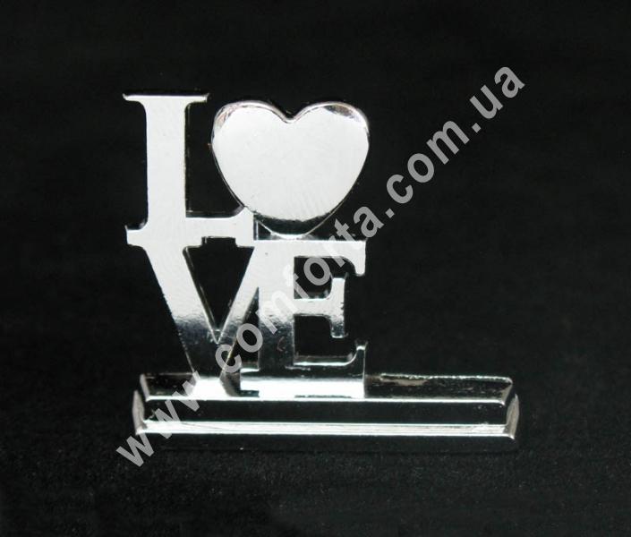 металлический держатель для рассадочных карточек в виде надписи love, размеры - 3 см x 3,4 cм