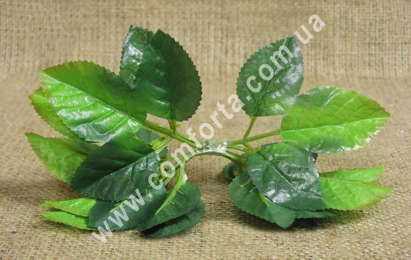 набор листьев розы, высота - 5,5 см, ширина - 4 см, материал - ткань, пластик