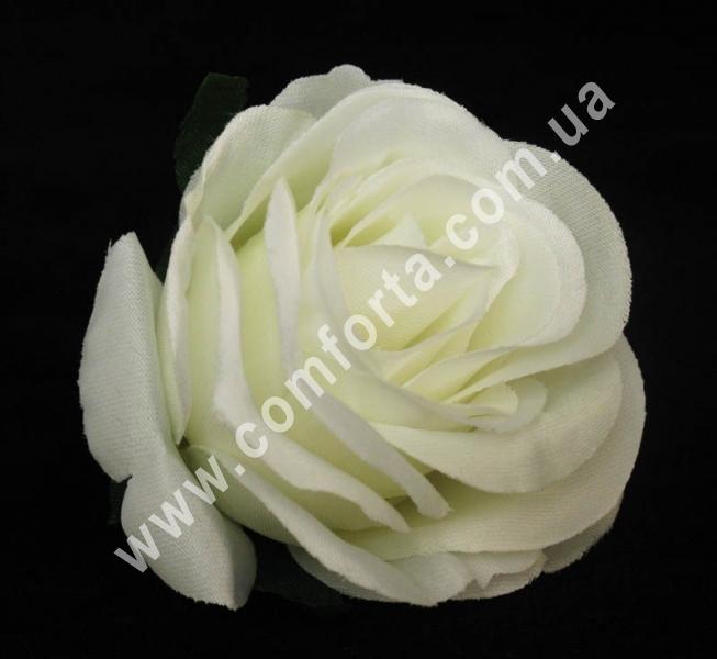 искусственная головка розы кремовая, диаметр - 6 см