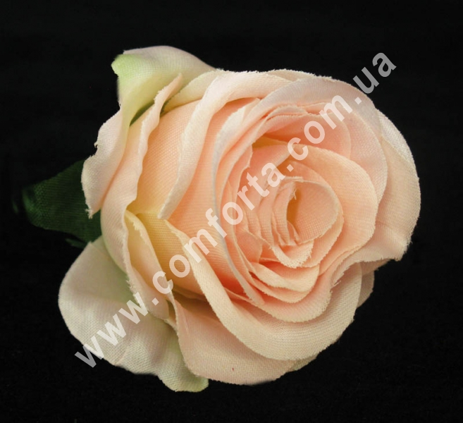 головка розы нежно-розовая, диаметр - 6 см, материал - ткань