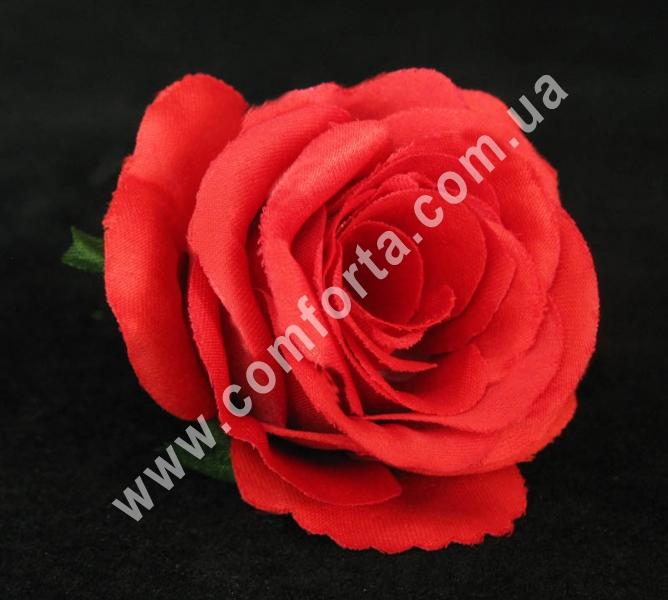головка розы красная, диаметр - 6 см, материал - ткань