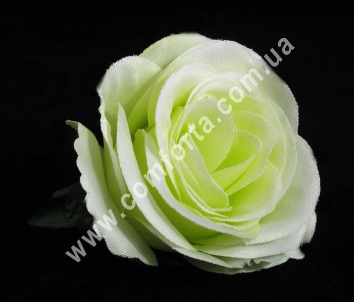 искусственная головка розы нежно-зеленая, диаметр - 6 см