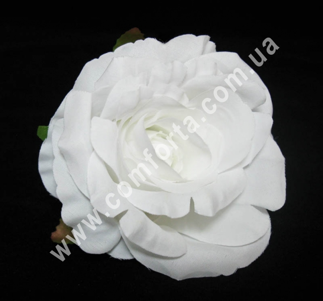 головка розы белая, диаметр - 9 см, материал - ткань
