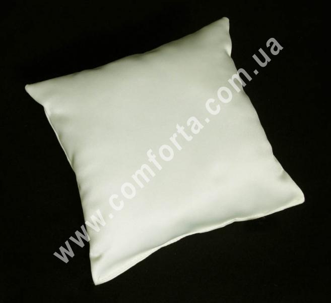 кремовая заготовка подушечки для колец на свадьбу, высота - 16 см, ширина - 16 см, материал - матовый атлас