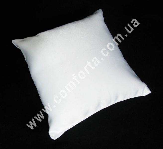 белая заготовка подушечки для колец на свадьбу, высота - 16 см, ширина - 16 см, материал - матовый атлас