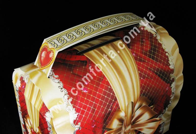 сундучок для денег на свадьбу, высота - 31 см, ширина - 32 см, длина - 17 см, материал - картон